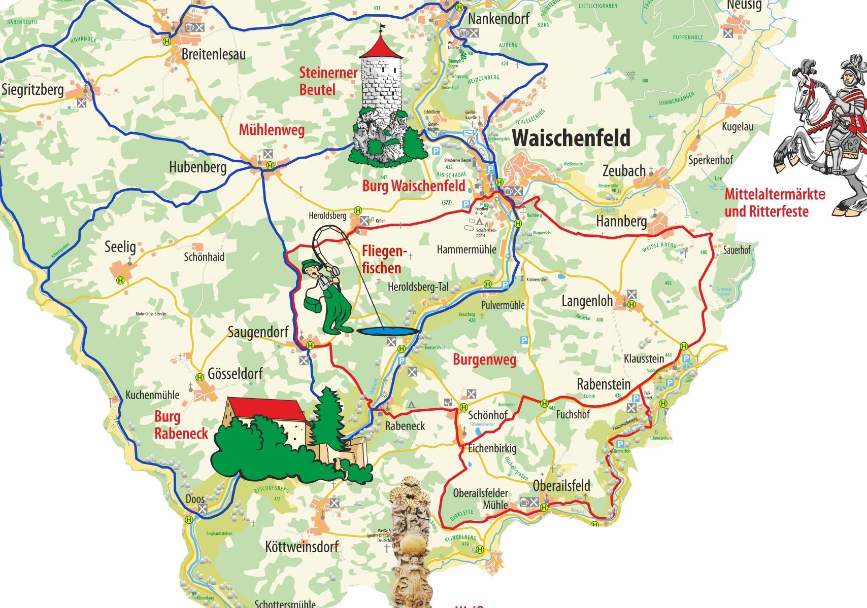 Fränkische Schweiz Karte.Neubürg Auf Allen Seiten Bunt